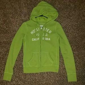 Green Hollister zip hoodie